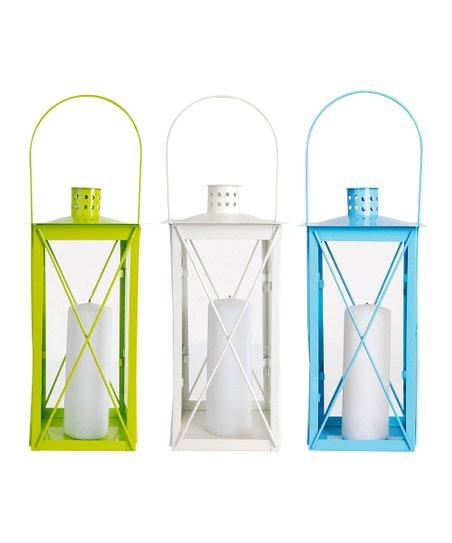 White, Blue & Lime Russian Flower Lantern Set