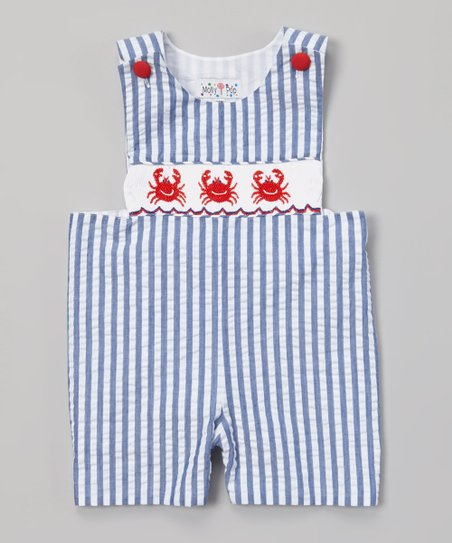 Blue & White Crab Smocked John Johns - Infant & Toddler