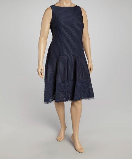 Navy Stripe Lace-Trim Sleeveless Dress - Plus