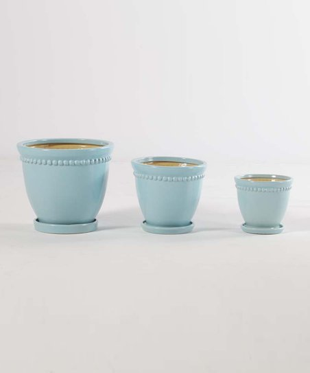 Pale Mint Galway Cachepot Set