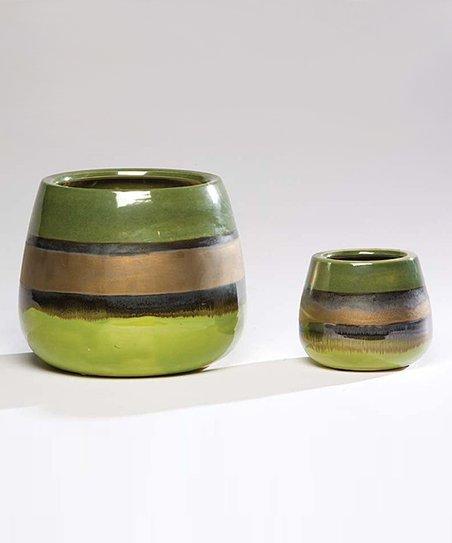 Green Kiwi & Bronze Verde Cachepot Set