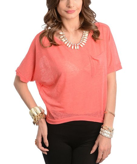 Coral Pocket Dolman Top
