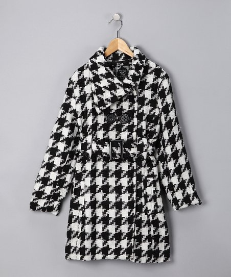 Cream Houndstooth Coat - Girls