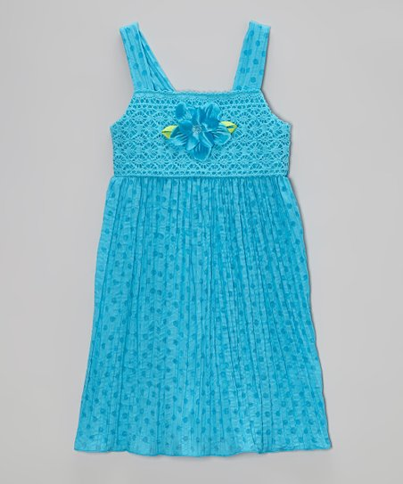 Turquoise Dot Crocheted Dress - Toddler & Girls