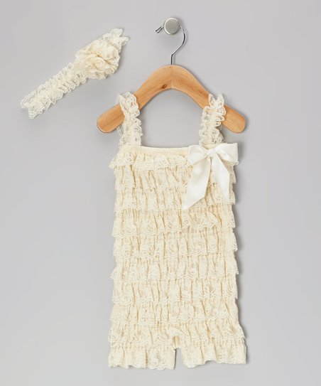 Beige Lace Ruffle Romper & Headband - Infant & Toddler