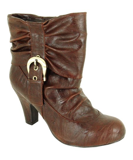 Brown Side Ruched Praise Bootie