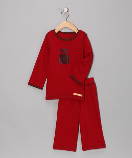 Red Peace Owl Organic Tee & Yoga Pants - Infant
