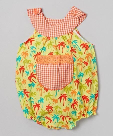 Yellow & Orange Palm Tree Bubble Bodysuit - Infant