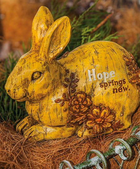 "Yellow 'Hope Springs New"" Rabbit Statuary"