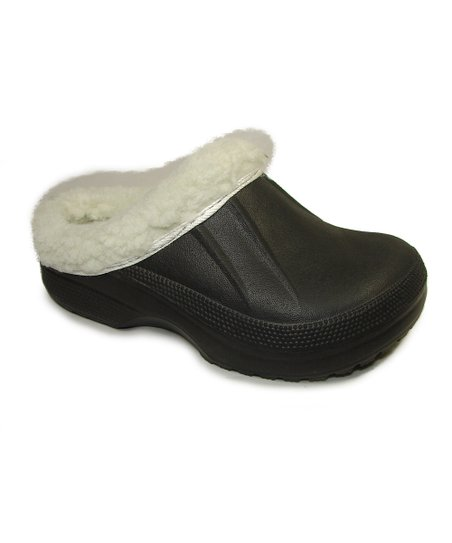 Black Fur-Lined Clog