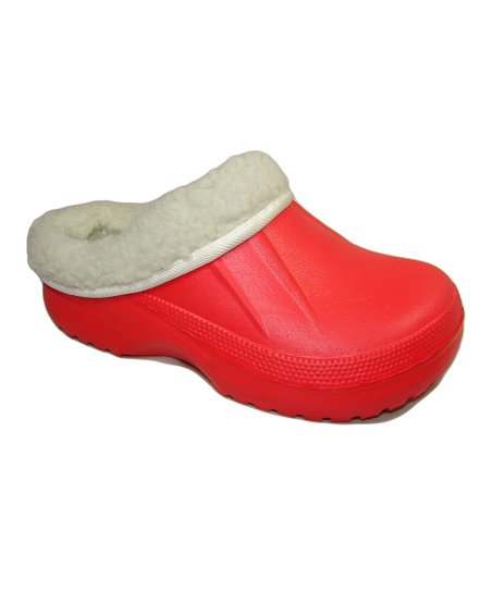 Red Fur-Lined Clog