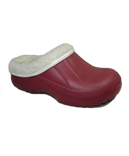 Burgandy Fur-Lined Clog
