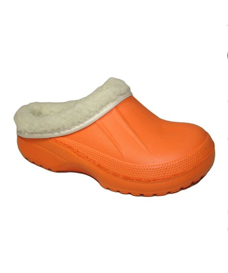 Orange Fur-Lined Clog