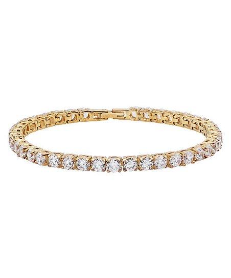 Yellow Gold & Simulated Diamond Bracelet