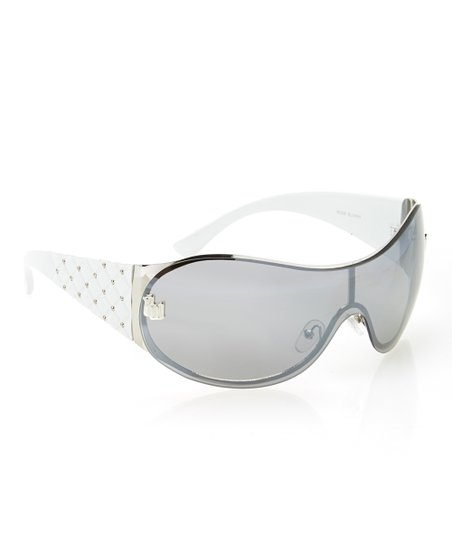 Silver & White Quilted Sunglasses
