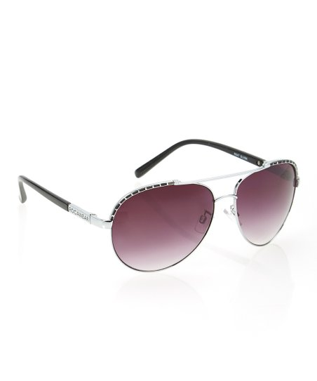 Silver & Black Circular Sunglasses