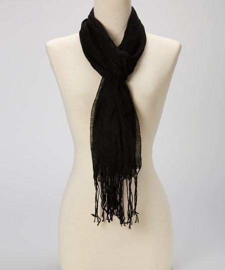 Black Linen Fringe Scarf