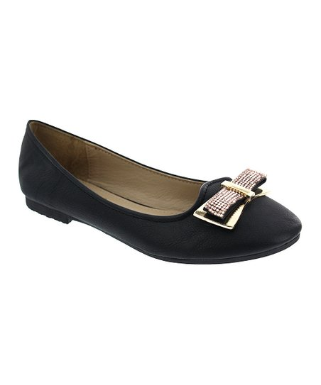 Black Metal-Embellished Bow Gina Flat