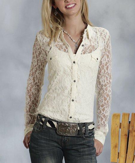 White Cream Lace Button-Up - Women & Plus