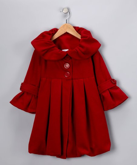 Red Bubble Coat - Girls