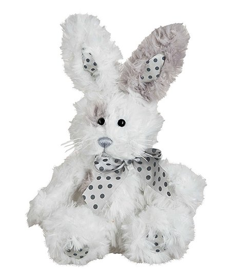 White & Gray Polka Dot Fluffy Bunny Plush Toy