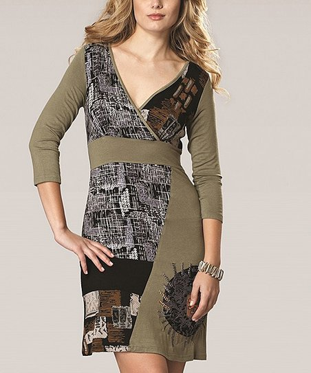 Olive Patchwork Surplice Dress