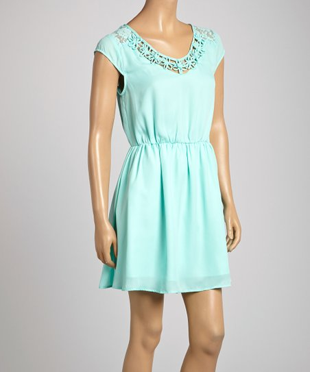 Mint Lace-Back Dress