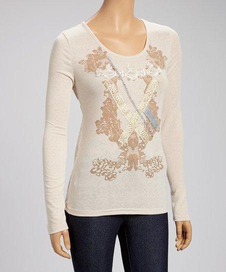 Beige Floral Lace Scoop Neck Top