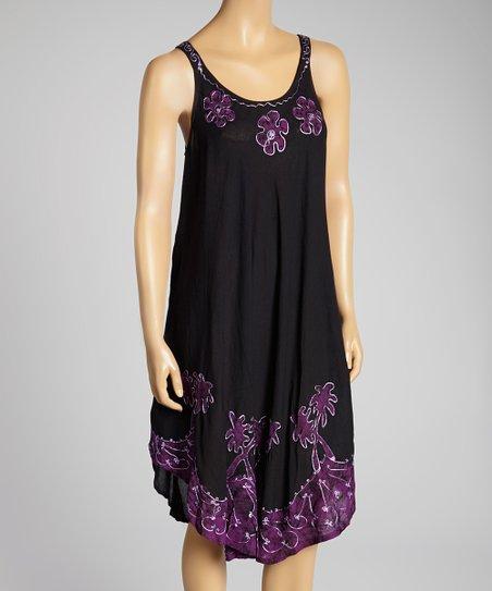Purple & Black Floral Embroidered Scoop Neck Dress