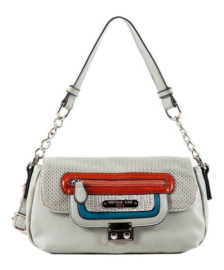 Gray Zipper Aurora Shoulder Bag