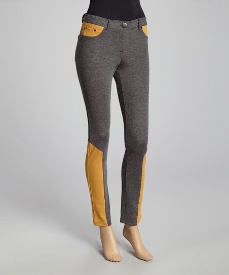 Heather Charcoal & Mustard Color Block Pants