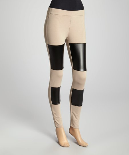 Beige & Black Color Block Leggings