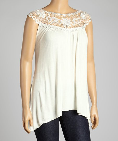 Ivory Floral Lace Yoke Top - Plus
