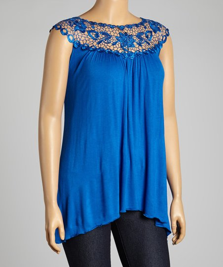 Lapis Floral Lace Yoke Top - Plus