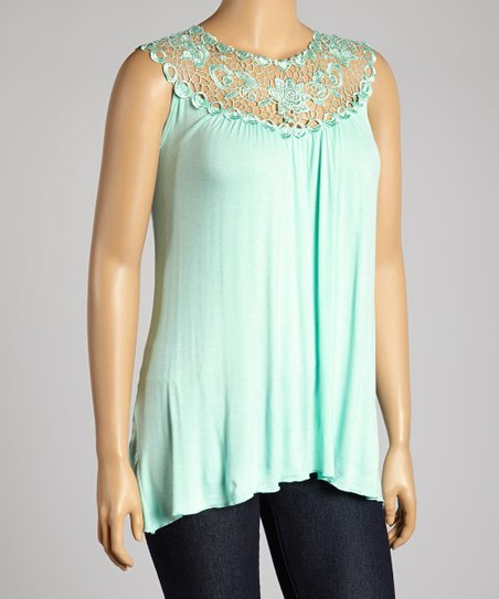 Mint Floral Lace Yoke Top - Plus