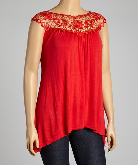 Red Floral Lace Yoke Top - Plus
