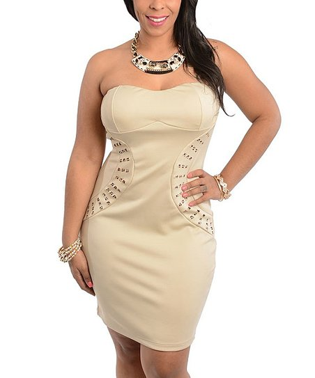 Cream Studded Strapless Dress - Plus