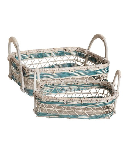 Aqua & White Nested Wicker Tray Set
