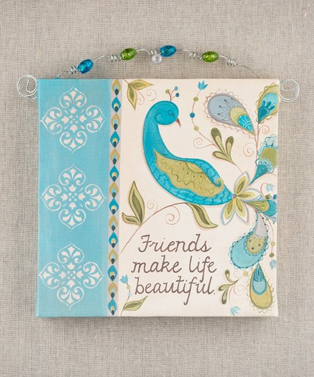 'Friends Make Life Beautiful' Beaded Canvas