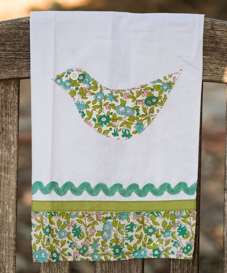 Blue & Green Bird Tea Towel