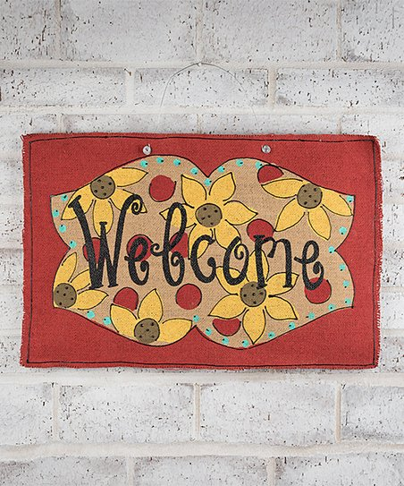 'Welcome' Sunflower Burlee Wall Art