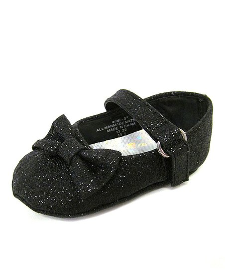 Black Shimmer Bow Mary Jane