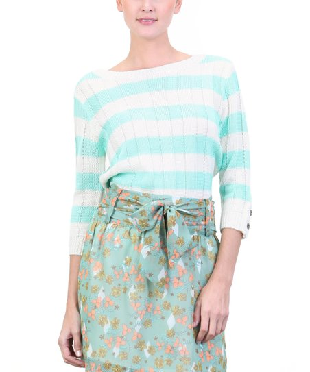 Tiffany Green & White Stripe Pullover