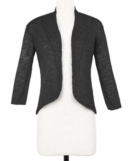 Black Ana Crocheted Open Cardigan