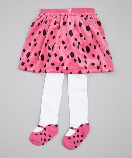 Pink Polka Dot Mary Jane Skirted Tights  - Infant & Toddler