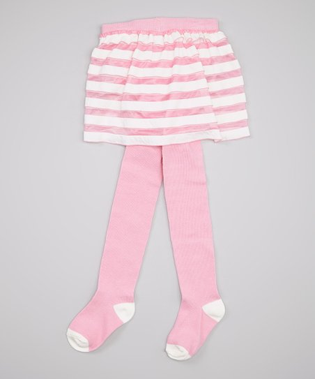 Light Pink Stripe Skirted Tights - Infant & Toddler