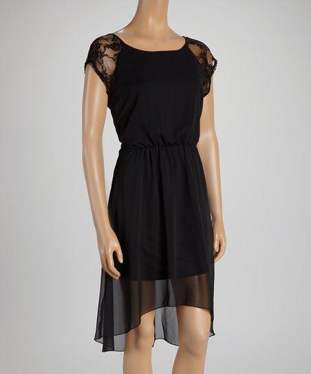 Black Lace Hi-Low Dress