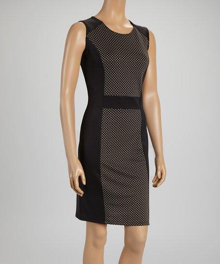 Black & Taupe Textured Dot Dress