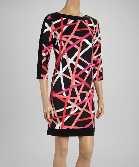Pink Geometric Sheath Dress