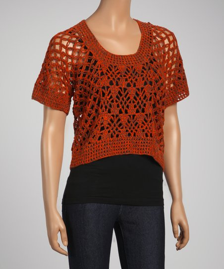 Orange Sheer Crocheted Short-Sleeve Cropped Top